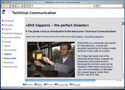 screenshot telecourse website